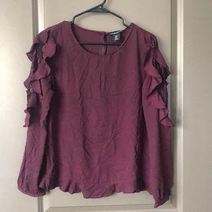 Cynthia Rowley Ruffle shoulder blouse